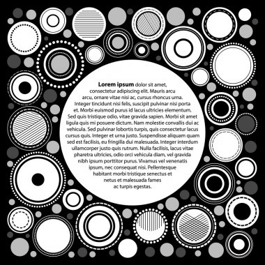 Black and white abstract geometric circles poster template for your text, vector