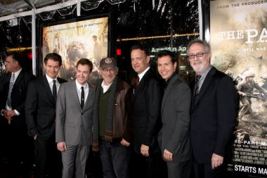 James Badge Dale, Joe Mazzello, Steven Spielberg, Tom Hanks and Jon Seda
