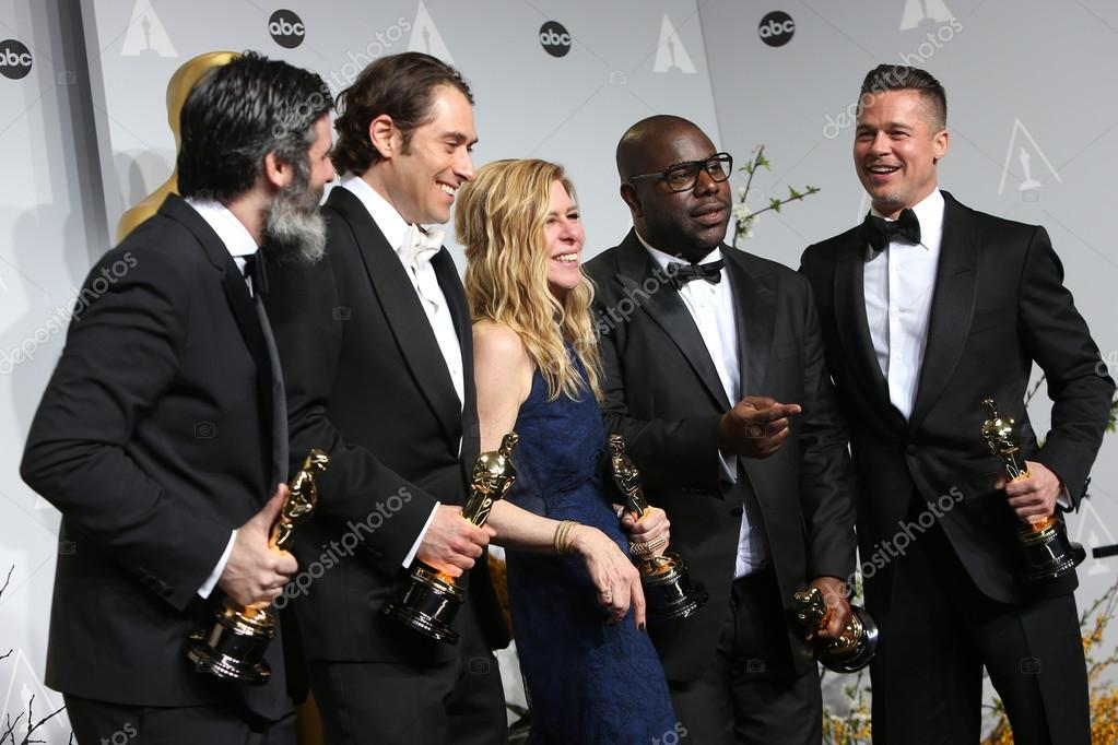 Producers Anthony Katagas, Jeremy Kleiner, Dede Gardner, director Steve McQueen, Brad Pitt - winners of Best Picture for '12 Years a Slave'