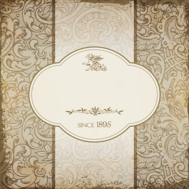 Vintage elegant restaurant menu card with floral background