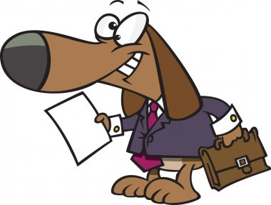 Clipart Legal Beagle Attorney Lawyer Dog Holding A Document - Royalty Free Vector Illustration by Ron Leishman
