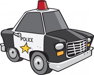 Cartoon Police Car by Ron Leishman