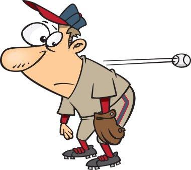 Clipart Cartoon Slow Reacting Baseball Player Ignoring The Ball - Royalty Free Vector Illustration by Ron Leishman