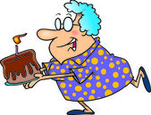 Fotografia un cartone animato di un anziano donna in esecuzione con una torta di compleanno