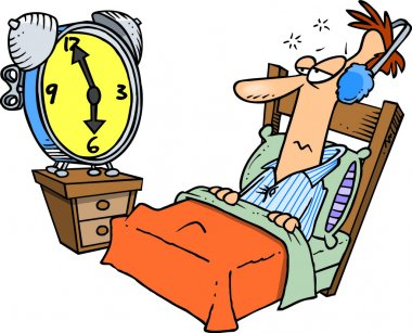Line art design of a man tuning out an alarm clock with ear muffs, on a white background.