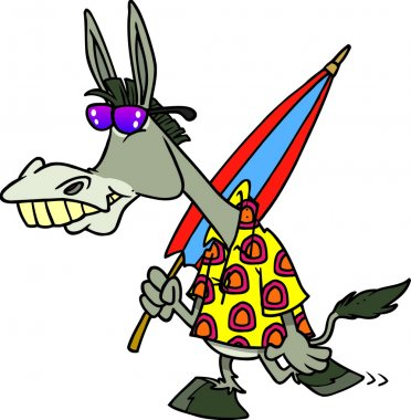 Cartoon Clipart Picture of a Donkey Going to the Beach