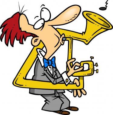 A cartoon man playing a bent and broken musical instrument.