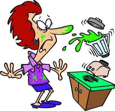 Cartoon of a Blender Spilling All Over a Woman