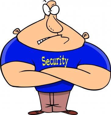Royalty Free Clipart Image of a Bouncer