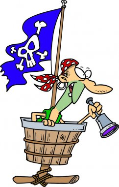 Pirate in a crows nest, on a white background.
