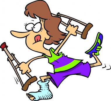 Determined woman running with crutches, on a white background.