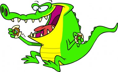 Royalty Free Clipart Image of a Gator Eating a Donut