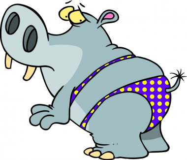 Hippo in a polka dot bikini, on a white background.