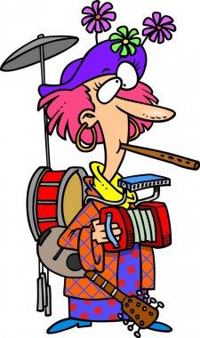 Cartoon One Woman Band