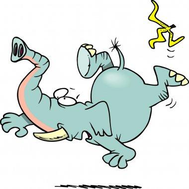 Cartoon Elephant Slipping on Banana Peel