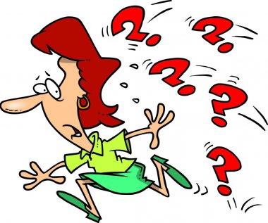 Cartoon Woman Avoiding Questions