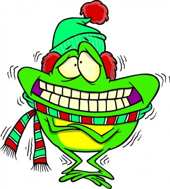 Cartoon Frog Shivering in the Cold