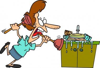 Cartoon Clogged Kitchen Sink
