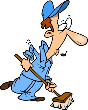 Cartoon Janitor Sweeping