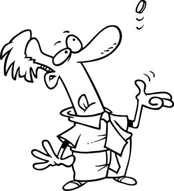 Cartoon Man Tossing a Coin