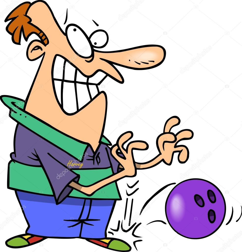 Cartoon Man Dropping Bowling Ball — Stock Vector ...