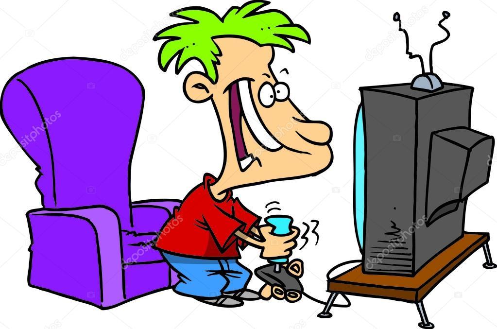 Cartoon Boy Playing Video Games stock vector