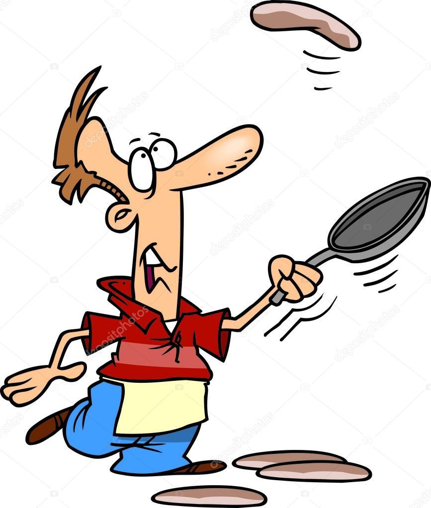 Homme de dessin anim cuisine cr pes image vectorielle - Dessin anime de cuisine ...