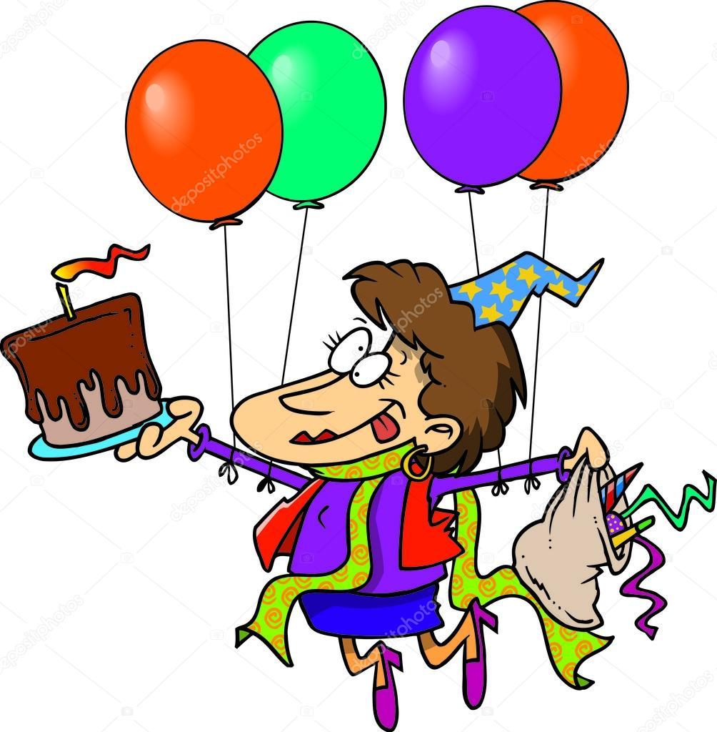 Cartoon Verjaardag Dame Stockvector C Ronleishman 13916422