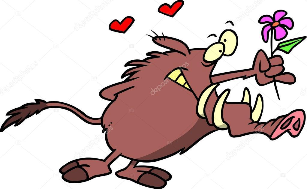 Cartone animato facocero amore — vettoriali stock