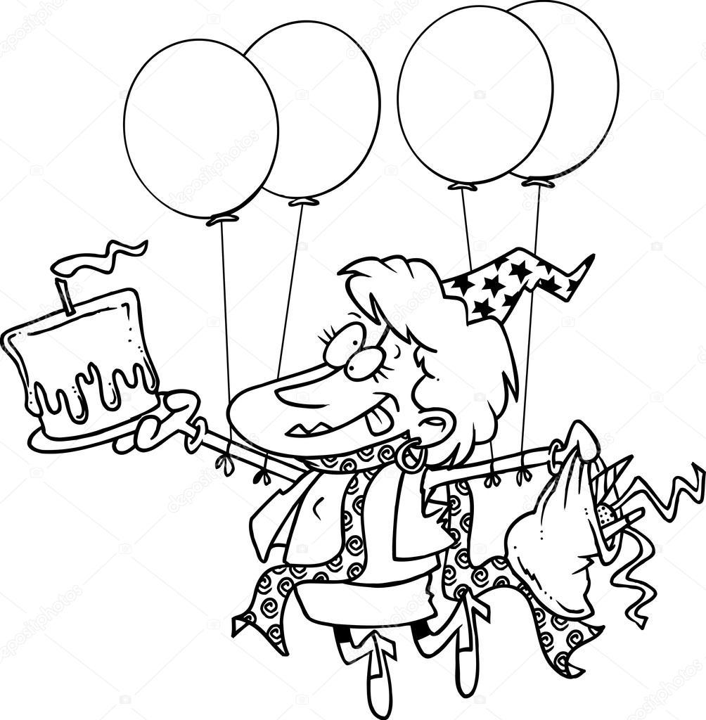 Cartoon Verjaardag Dame Stockvector C Ronleishman 13918329