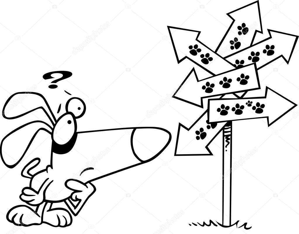 perro de dibujos animados confundido por pata imprime signo ...