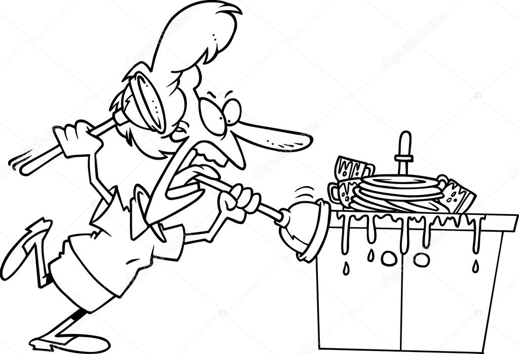 Cartoon Clogged Kitchen Sink U2014 Stock Vector