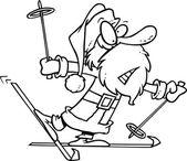 Cartoon Weihnachtsmann Schnee-Skifahren