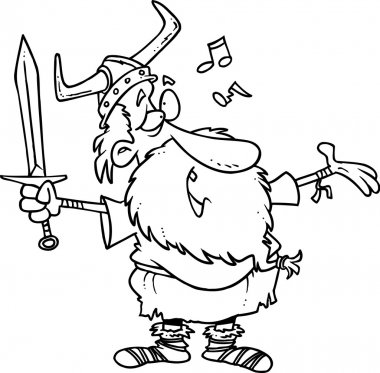 Cartoon Viking Singing a Song