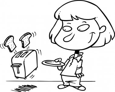 Cartoon Girl Making Toast