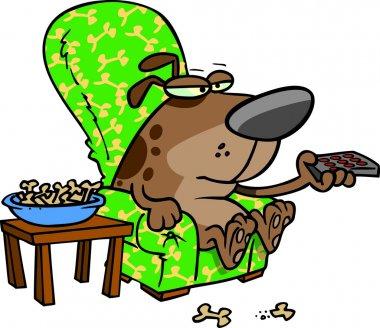 Cartoon Dog Watching TV