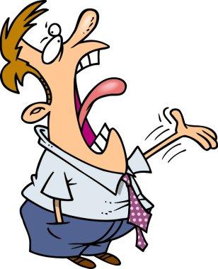 Cartoon Man Loudly Complaining
