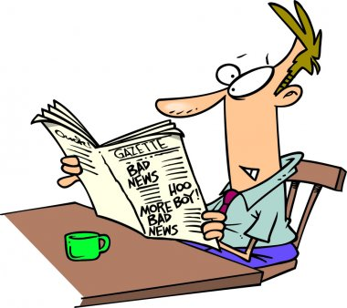 Cartoon Man Reading Newspaper