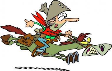 Cartoon Pony Express Rider
