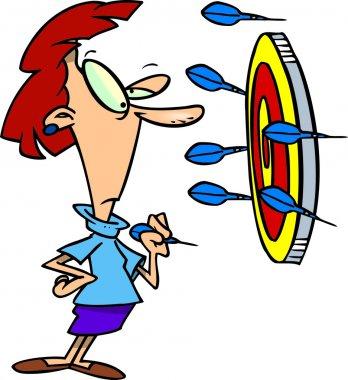 Cartoon Woman Playing Darts