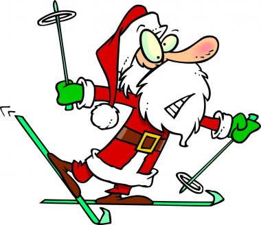 Cartoon Santa Snow Skiing