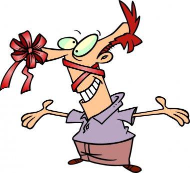 Cartoon Man Giving Himself as a Gift