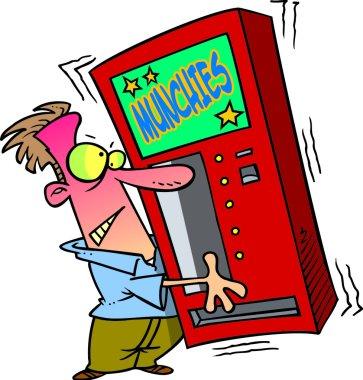 Cartoon Man Shaking a Snack Vending Machine