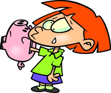 Cartoon Girl with Piggy Bank