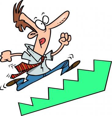 Cartoon Businessman Running Up Stairs