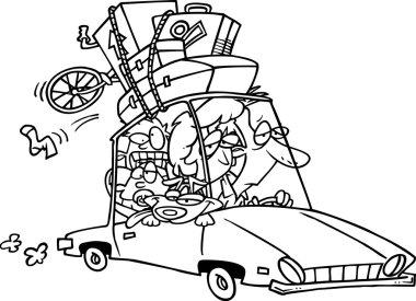Cartoon Family Road Trip