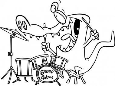 Cartoon Gator Drums