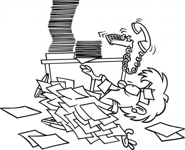Cartoon Woman Overwhelmed by Paperwork