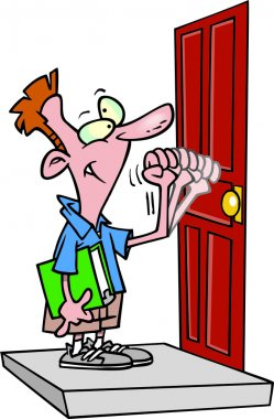 Cartoon Door to Door Salesman