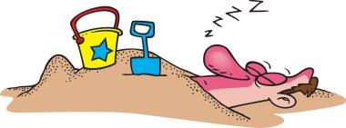 Cartoon Sand Burial stock vector